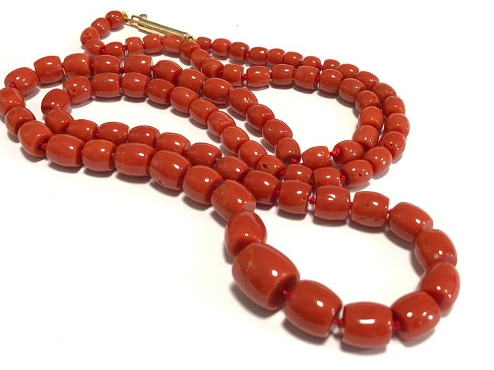 14 kt. Pink gold - Necklace red Sardinian coral