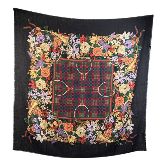 Gucci - Vintage Wool and Silk Large Shawl Maxi Scarf Floral Ribbons Scarf