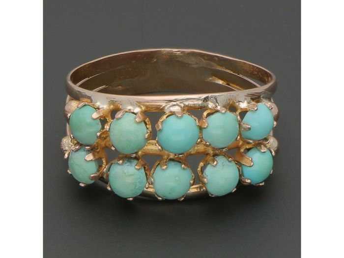 14 kt. Pink gold - Ring - 0.21 ct Turquoise