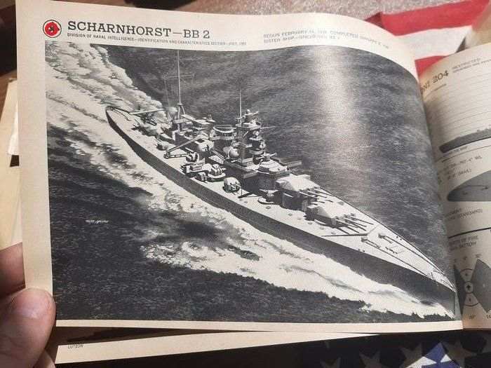 United States -  Axis Ship Recognition Manual - US Navy - Kriegsmarine - Tirpitz - Prinz Eugen - Scharnhorst -  SECRET/CLASSIFIED! - 1942