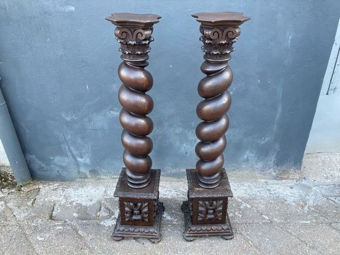Beautiful pair of turned wood columns (118cm - 46 inches) - Wood - Early 20th century