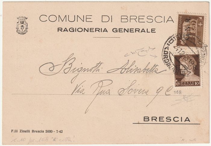 Republican National Guard 1943 - Brescia issue 4th day of use 5 cents + 10 cents variety split R position 168 rare certified - Sassone NN.470/I+471/I VAR