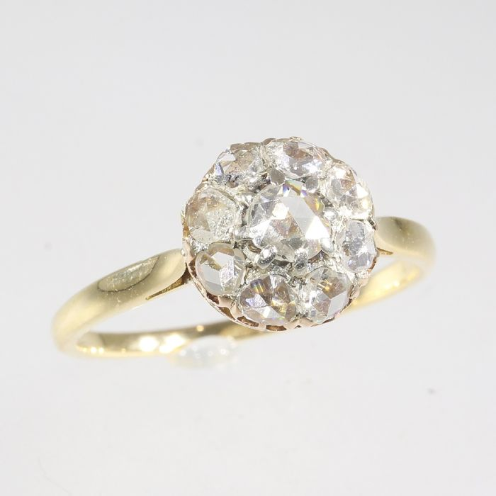 18 kt. Yellow gold - Ring, Antique Victorian, Anno 1890 - Diamond - Natural (untreated), Free resizing* NO RESERVE PRICE
