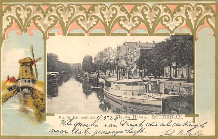 Netherlands - Rotterdam - old city and harbor views - Postcards (Collection of 113) - 1910