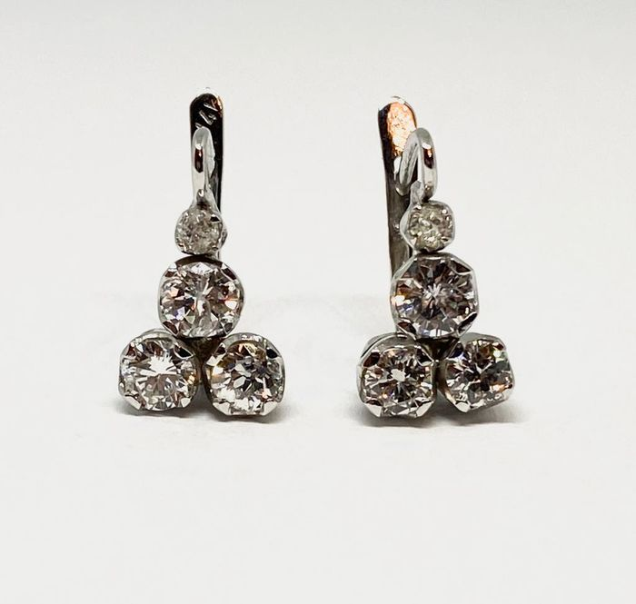 14 kt. White gold - Earrings - 2,14 ct Diamond