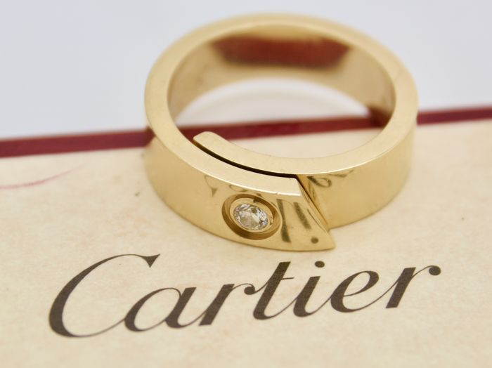Cartier - 18 kt. Yellow gold - Ring, lonely love - 0.07 ct Diamond