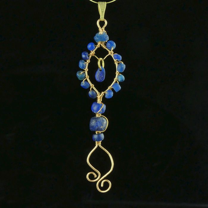 Ancient Roman Glass Pendant with blue glass beads - (1)