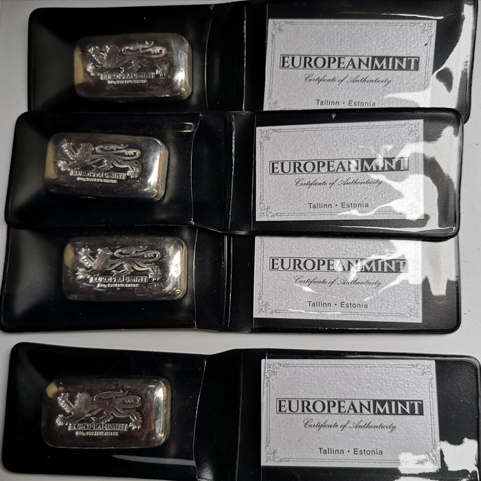 4 x 100 grams - Silver .999 - Europeanmint English Lion - Certificate