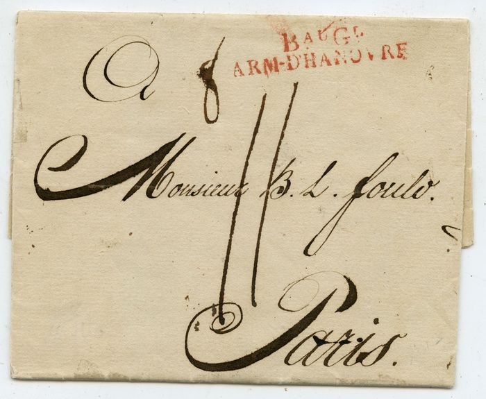 """Germany - Local postal areas - French army post """"B. AUG. L. ARM. D. HANOVRE"""" 1804 from Hannover to Paris"""