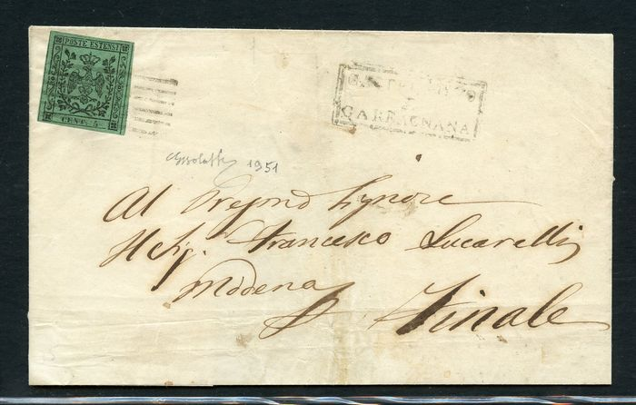 Italian Ancient States - Modena 1852 - 5 cents green without dot on letter from Castelnuovo di Garfagnana to Finale di Modena - Sassone N. 1