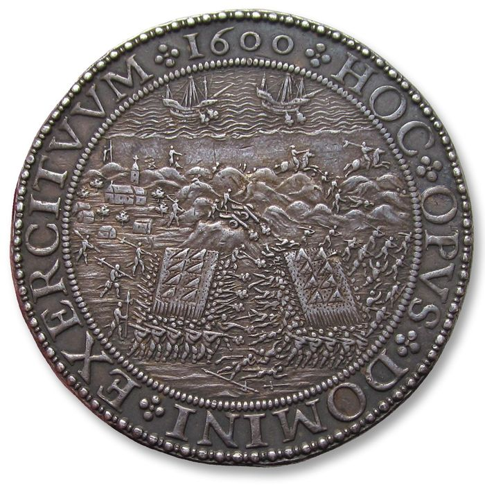 Spanish Netherlands. Historical Medal 1600 A.D., by C. van de Vogelaer: Dutch victory over the Spanish at the battle of Nieuwpoort