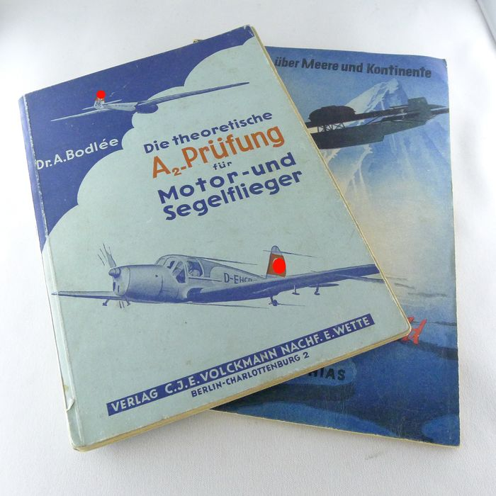 """Germany - The theoretical A2 test for motor and glider swingers; """"Against Ice and Jungle"""" by Joachim Mattias - Book - 1941"""