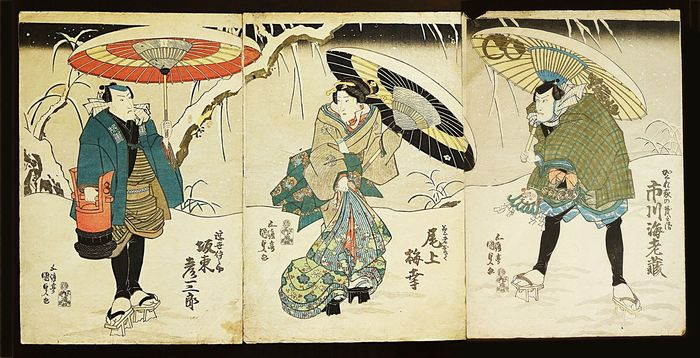 "Original woodblock print - Utagawa Kunisada (1786-1865) - Scene from the Kabuki play ""Sekai wa Taira ume no kaomise"" 世界平氏梅顔競 - Japan - 1837"