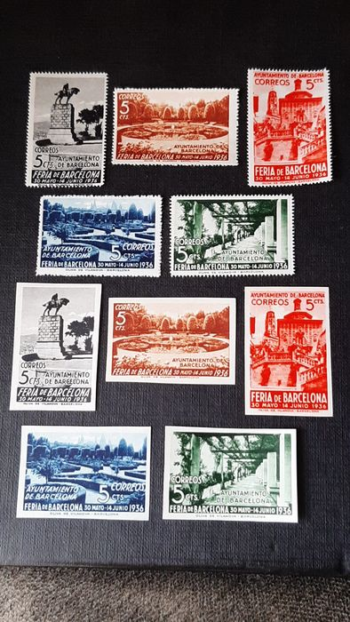 Spain 1936 - Barcelona, Exhibition Fair. Two complete sets, perforated and imperforated - Edifil 14/18
