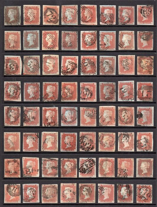 Gran Bretagna - QV 1841 1d Red Brown Imperf Collection of 192 Four Margin Stamps - Stanley Gibbons