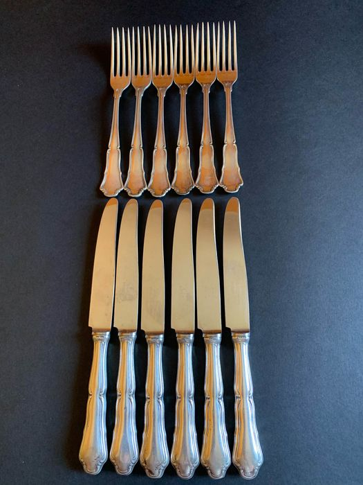 Cutlery set - .800 silver - Clementi - Italy - Mid 20th century