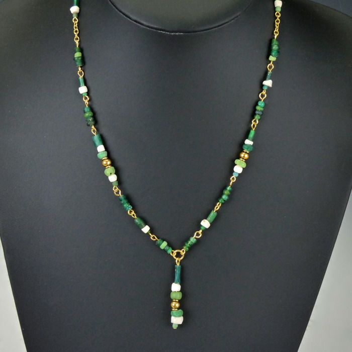Ancient Roman Glass Necklace with green glass and shell beads - (1)