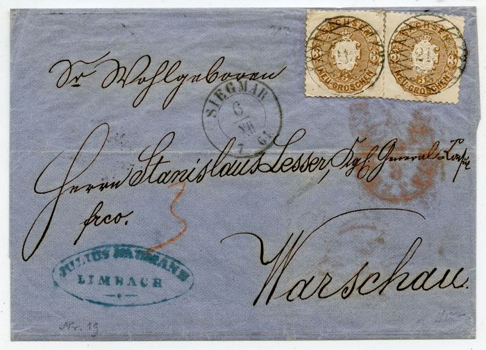 Saxony - No. 19 - good multiple franking to Warsaw/Russia 1864 with railway post - Michel 19
