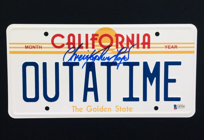 """Back to the Future - Christopher Lloyd  """"Doc Brown"""" - Autograph, Authentic Signed License Plate - with COA"""
