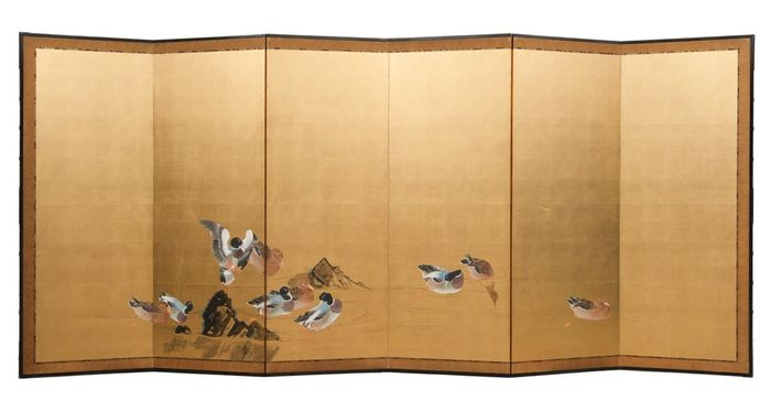 Byobu - Paper on wooden frame - Beautiful large 6 panel byobu roomdivider with a spacious painting on goldleaf with ducks  - Japan - Meiji period (1868-1912)