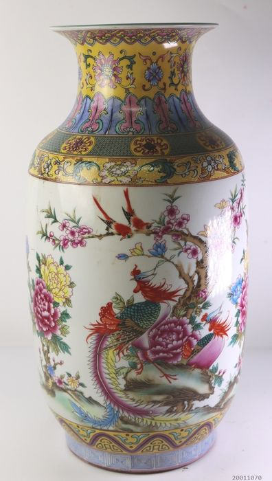 Large vase decorated with, among other things, birds - Porcelain - China - Late 20th century
