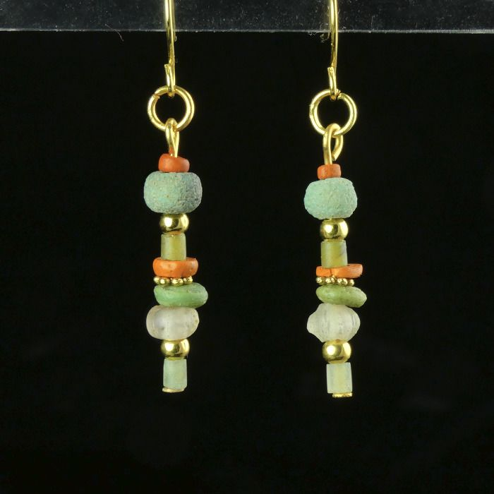 Ancient Roman Glass Earrings with green, orange glass and faience beads - (1)