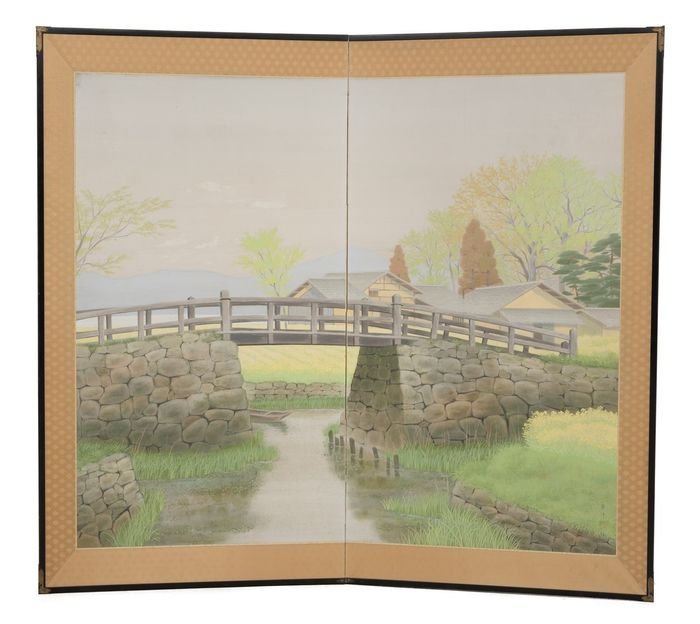 Byobu, Folding screen - Paper, Wood - Two panel screen (byobu) with a painting of a romantic countryside scene in nice pastel colors, - Japan - Taisho - Early Showa period