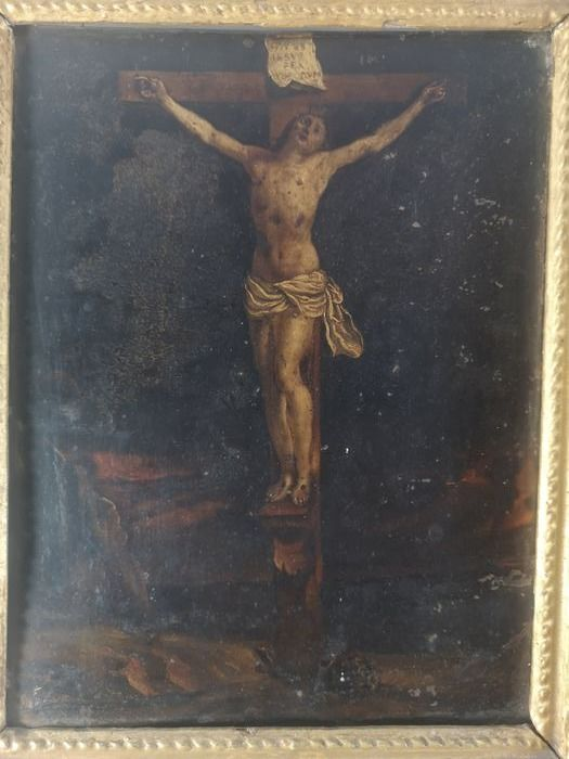 Painting - Copper + gilded wood - 18th century