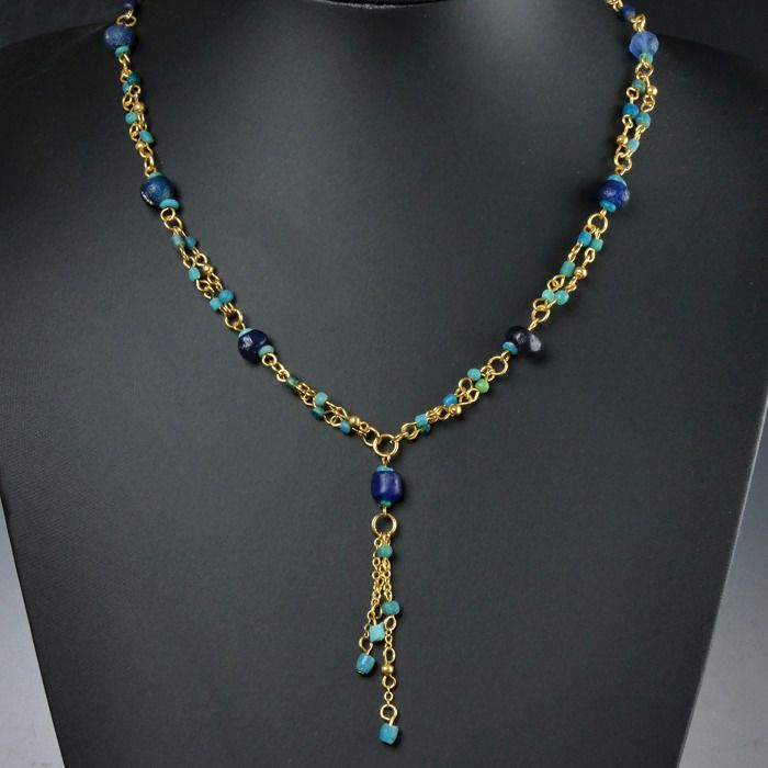 Ancient Roman Glass Necklace with turquoise and blue glass beads - (1)