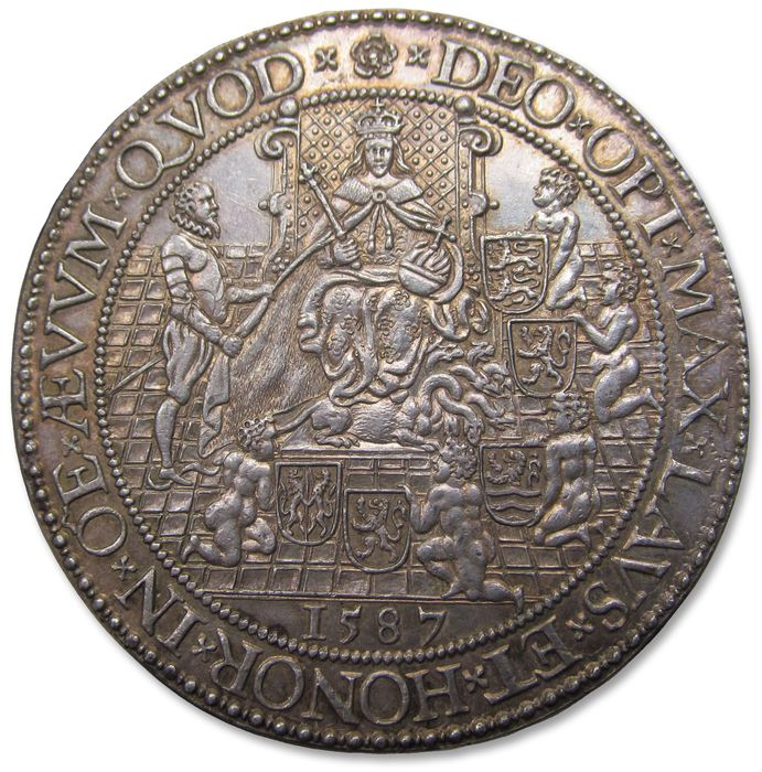 Netherlands - Spanish Netherlands - 52mm medal 1587 by G van Bylaer: on Queen Elizabeth's I support for the United Provinces - AR commemorative medal, a superb example of this rare medal - Silver