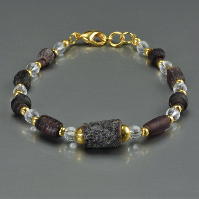 Ancient Roman Glass Bracelet with purple glass beads - (1)