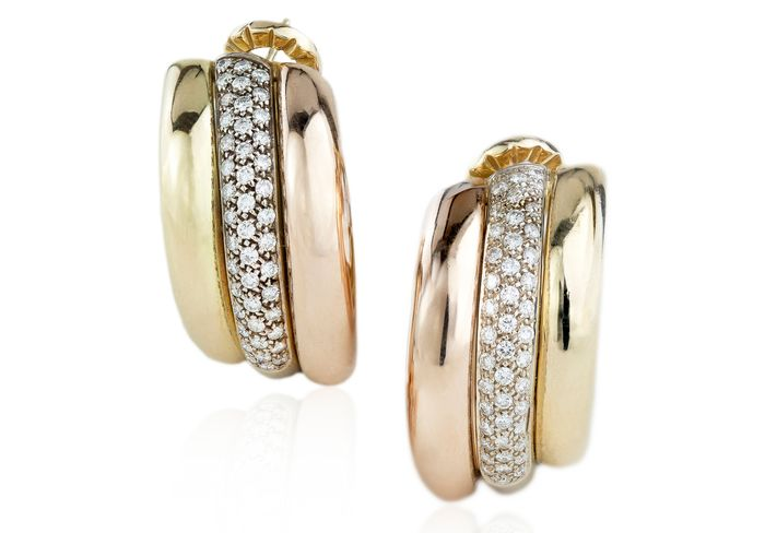 Cartier - 18 kt. Pink gold, White gold, Yellow gold - Earrings - Diamonds