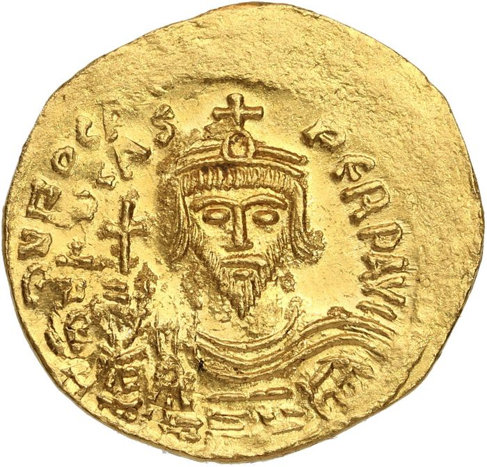 Byzantinisches Reich - AV solidus, Phocas (AD 602-610). Constantinople, 5th officina, AD 604-610