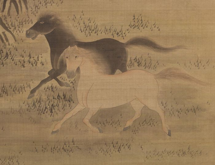 Byobu, Folding screen - Silk - 6 panel roomdivider with 6 monochrome dynamic paintings of wild horses in their natural environment - Japan - Late Meiji - Taisho period