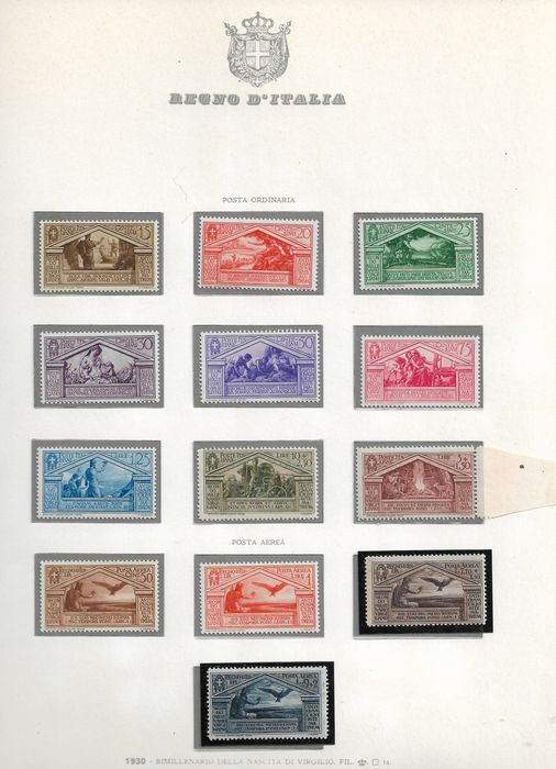Italy Kingdom 1930 - Birth of Virgil, complete regular mail and airmail, 13 values - Sassone N. 282/90+A 21/24