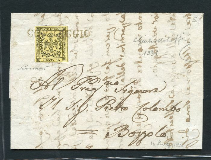 Italian Ancient States - Modena 1852 - 15 cents yellow without dot on letter from Correggio to Bozzolo - Sassone N. 3