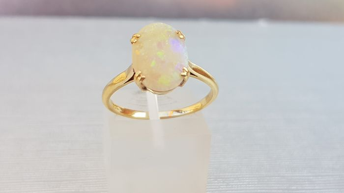 Vintage Cabochon Opal 18ct Gold Ring- Old & gorgeous - 18 carati Oro giallo - Anello Opale