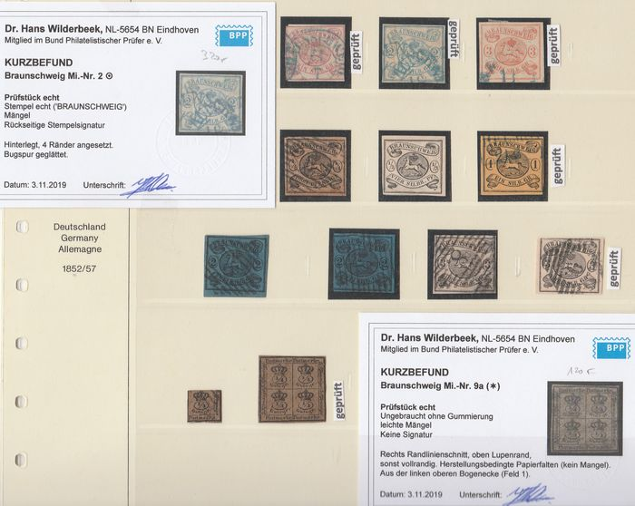 Braunschweig 1852/1865 - nearly complete collection with 9 expertised values - Michel 1 - 20