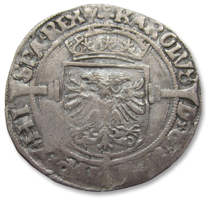 Paesi Bassi - Paesi Bassi spagnoli - Charles V, Antwerp - AR 1/2 silver real 1521-1555 A.D. - Argento
