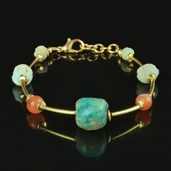 Ancient Egyptian Faience Bracelet with faience and carnelian beads - (1)