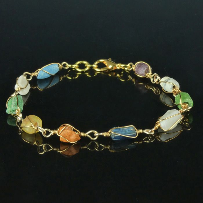 Ancient Roman Glass Bracelet with multicolour glass and shell beads - (1)