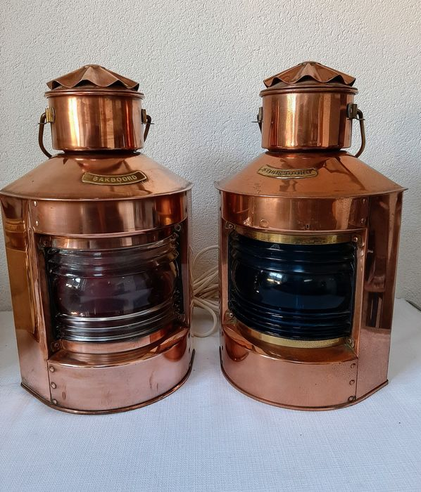 port and starboard lamp - Brass, Copper, Glass - Second half 20th century