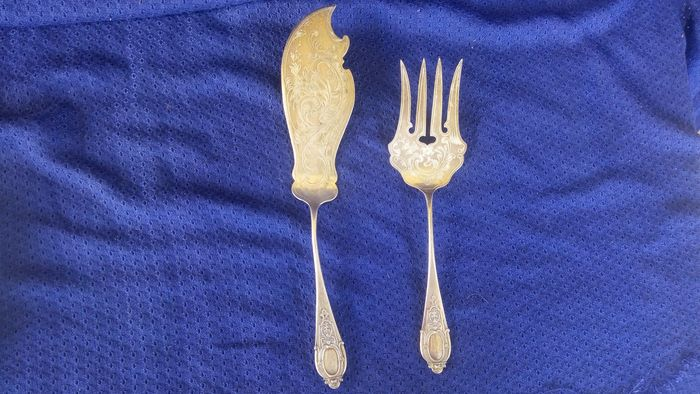 cake spoon and fork (2) - .800 silver - Germany - Early 20th century