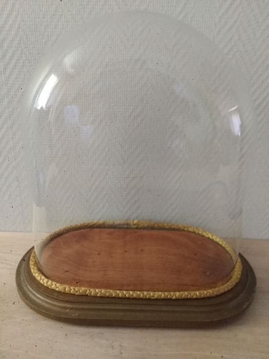 Bell, glass oval bellows (1) - Glass, Wood - 20th century