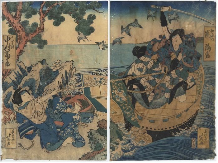 "Original woodblock print diptych - Hokuei Shunbaisai (act. 1830-1836) - Arashi Rikan III as Watônai in the play ""Kokusen'ya Kassen"" (The Battles of Coxinga) - Japan - ca 1830"