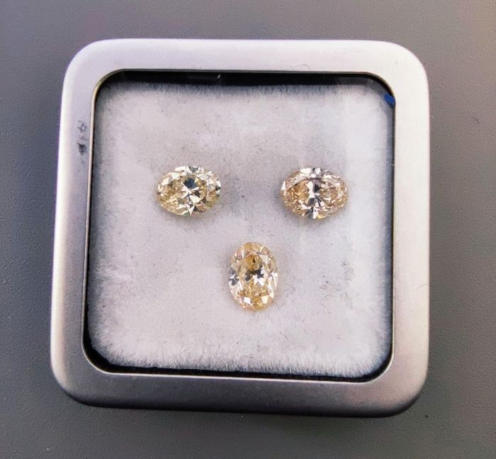 3 pcs Diamants - 2.92 ct - Oval - Fancy Light Brownish Yellow / Fancy Light Brown /  Fancy Light Orangish Yellow - VS2 /VS2 /SI1