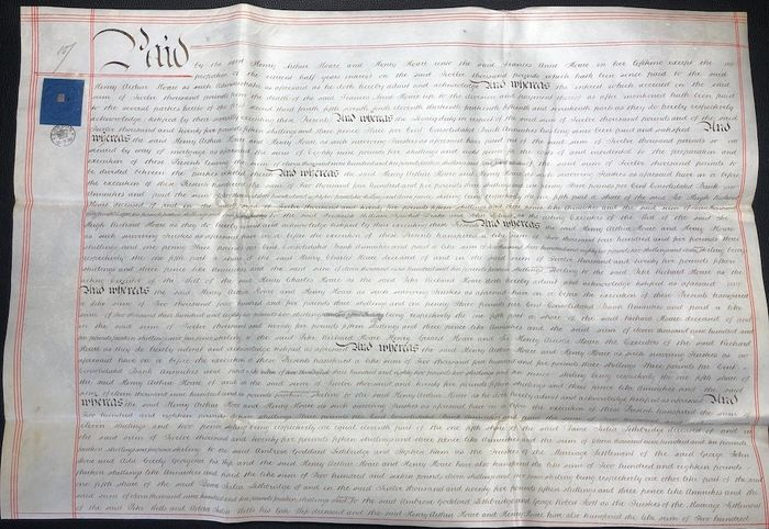 Hoare Family - Manuscript. Payment of Interest on a Loan (During Queen Victoria Reign) - 1859