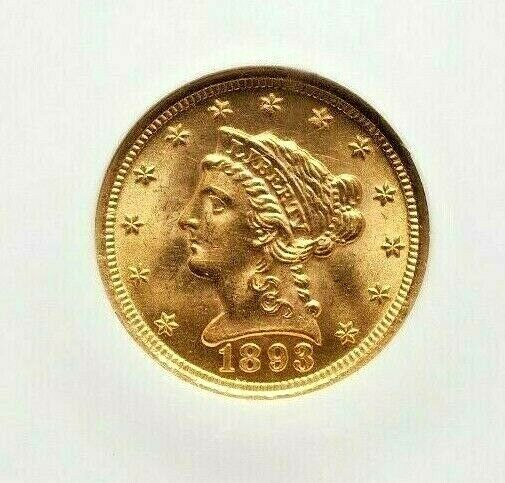 USA - 2.50 Dollar 1893 Rare Liberty Head Quarter Eagle - Gold