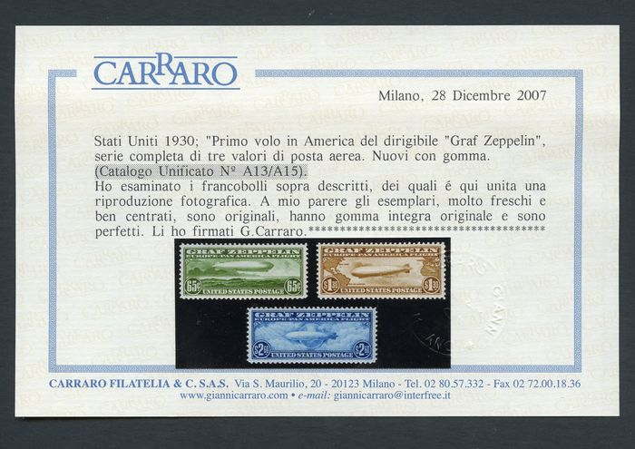 USA 1930 - Zeppelin - First flight to America - Unificato NN. PA 13/15
