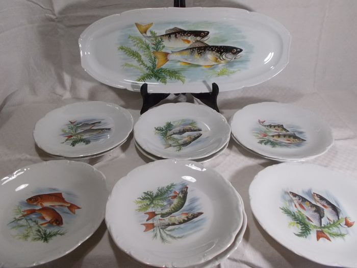 Sologne Lamotte Beuvron. - Fish service for 10 people (12) - Porcelain